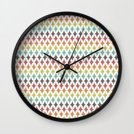 Retro 70s / Colorful 1970s Style Pattern Wall Clock