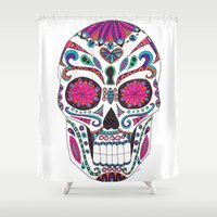 sugar skull Shower Curtains featuring Sugar Skull by Laura Maxwell