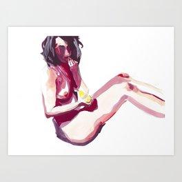 Claudia and Her Yellow Banana Art Print