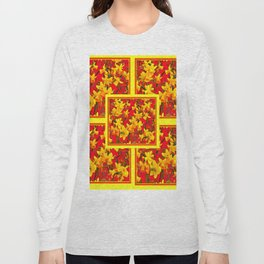 Decorative Tomato Red Patterns of Yellow Garden Daffodils Long Sleeve T-shirt
