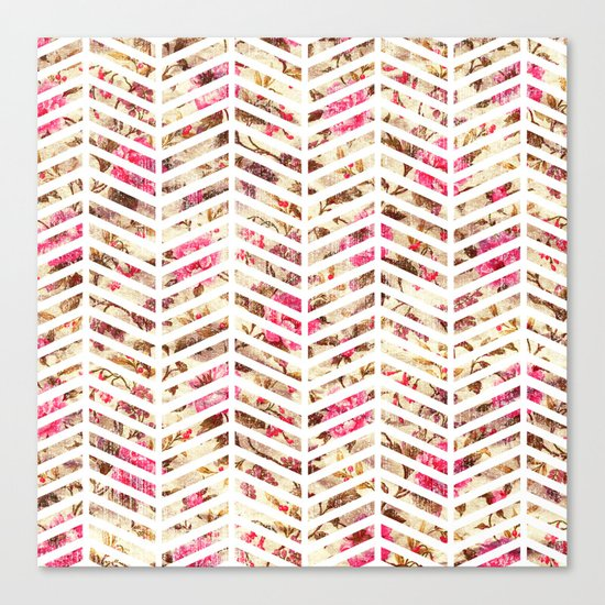 Pink Vintage Floral Girly Chevron Zig Zag Pattern Canvas Print