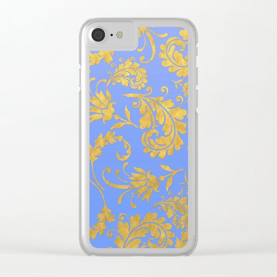 Queenlike- gold floral ornaments on blue backround-luxury pattern Clear iPhone Case