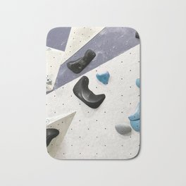 Geometric abstract free climbing bouldering holds black blue men Bath Mat