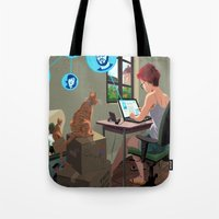 laptop Tote Bags featuring Laptop by Josue Noguera