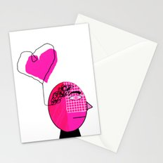 Black and Pink Man with Love on the Mind Stationery Cards