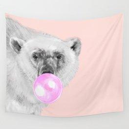 Bubble Gum Polar Bear Wall Tapestry