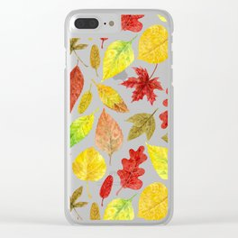 Autumn leaves watercolor white Clear iPhone Case