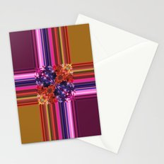 Purplish-Red and Gold Colorblock Abstract Stationery Cards
