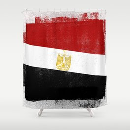Egyptian Distressed Halftone Denim Flag Shower Curtain