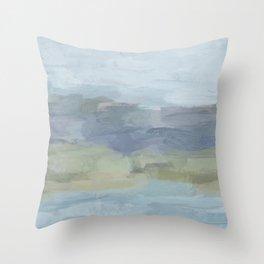 Sky Gray Blue Sage Green Abstract Wall Art, Painting Art, Lake Nature Painting Print, Modern Throw Pillow