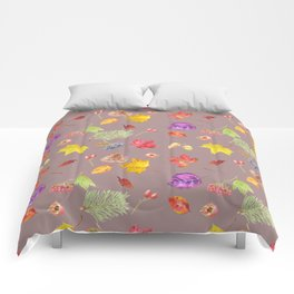 Autumn colored leaves Comforters