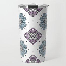 New Vogue;repeating digital pattern - modern symmetrical pattern - blue pink dots  Travel Mug
