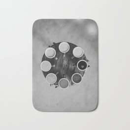 Coffee Circle (Black and White) Bath Mat