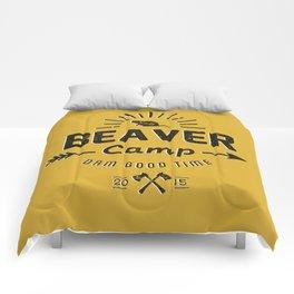 Beaver Camp: Dam Good Time (Black Text) Comforters