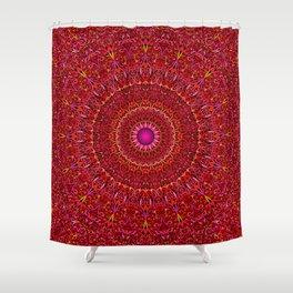Red Jungle Mandala Shower Curtain