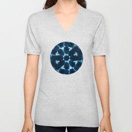 Blue shibori kaleidoscope Unisex V-Neck