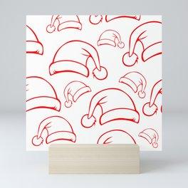 Santa Hat pattern red Mini Art Print