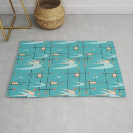 Mid Century Modern in Turquoise Rug