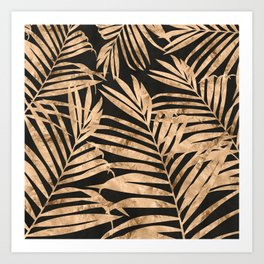black and gold palms Art Print