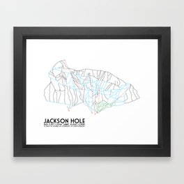 Jackson Hole, WY - Minimalist Trail Map Framed Art Print