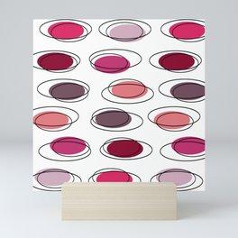 Mid Century Modern Ovals Scribbles Pink Mini Art Print