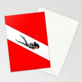 Diver And Dive Flag Stationery Cards