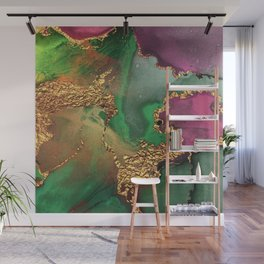 Trendy Glitter Gold, Green, and Pink Paint Texture Wall Mural