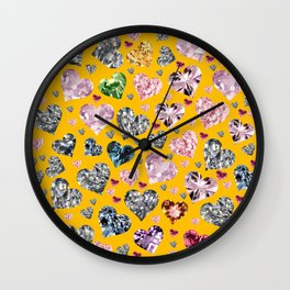 Heart Diamonds are Forever Love Yellow Wall Clock