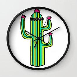 Flower Crown Cactus Wall Clock