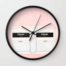 pink marfa watercolor illustration Wall Clock