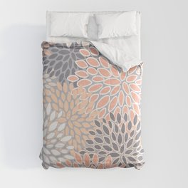 Flowers Abstract Print, Coral, Peach, Gray Comforters