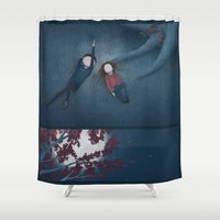constellations Shower Curtains featuring Constellations by Ramona Treffers