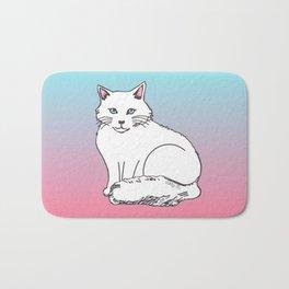 White Cat Pink & Blue Pastel Bath Mat