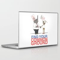 political Laptop & iPad Skins featuring Find Your Common Ground political poster by Evan Beltran