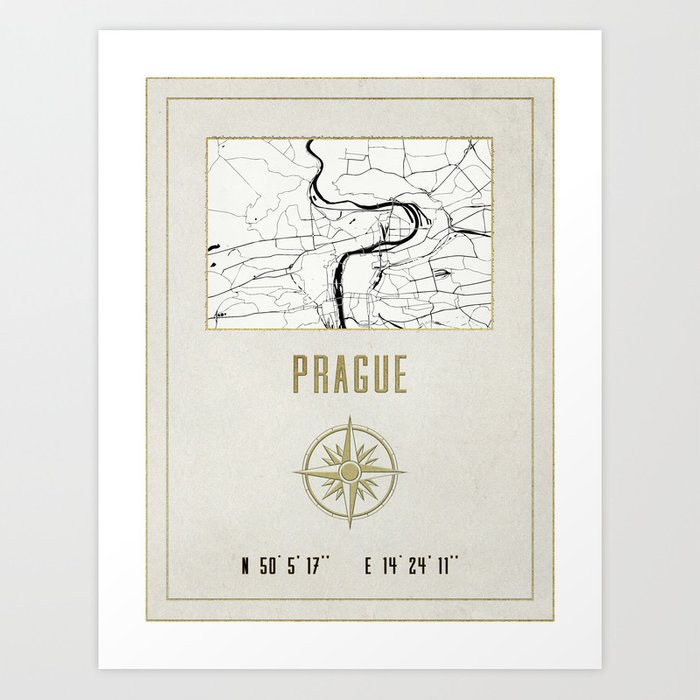 Prague vintage map and location art print