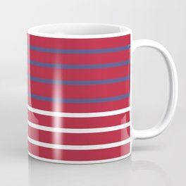 Blue-White Stripes on Red with White Edging (US Flag Colors) Coffee Mug