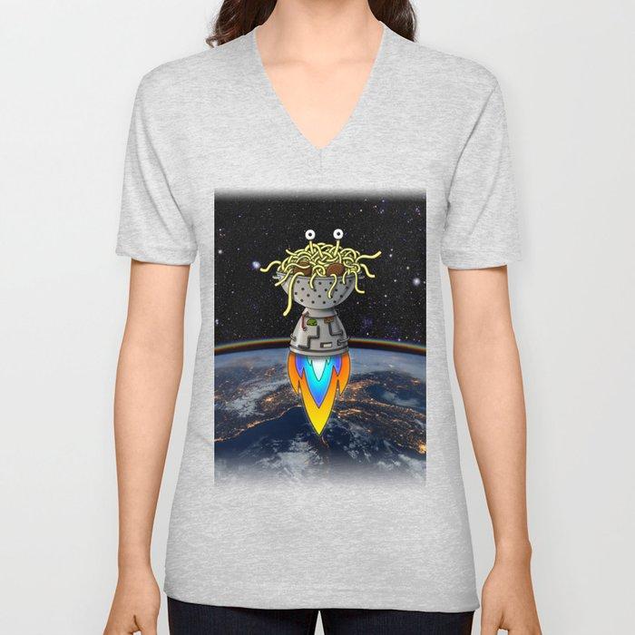 Flying Spaghetti Monster Earth Space Stars Rocket Atmosphere Unisex V-Neck