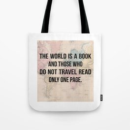 Travel Quote Map Design Tote Bag