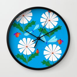 White Spring Daisies, Dragonflies, Lady Bugs and the Sun Wall Clock