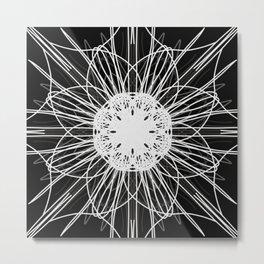 Black and White Mandala Flower Metal Print