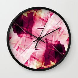Ruckus in Red - Geometric Abstract Art Wall Clock