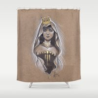 queen Shower Curtains featuring Queen by Bea González