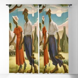 1930 Classical Masterpiece 'Romance' by Thomas Hart Benton Blackout Curtain