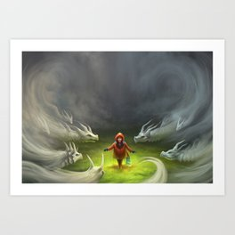 Mist Dragons Art Print