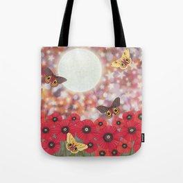 the moon, stars, io moths, & poppies Tote Bag