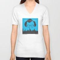 hemingway V-neck T-shirts featuring No146 My Manhattan minimal movie poster by Chungkong