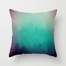 Foggy Forest - Vintage Green Fir Trees in California Throw Pillow