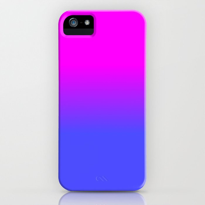 Neon Blue and Hot Pink Ombré Shade Color Fade iPhone Case