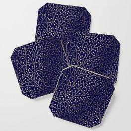 Gold Berry Branches on Navy Coaster