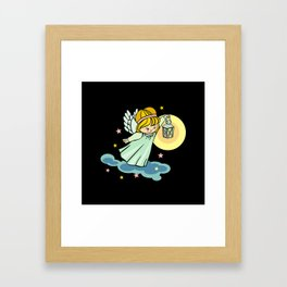 Flying angel with lantern Framed Art Print